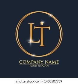 LT Logo Design Template With Modern Luxury Gold Letter Logo Vector