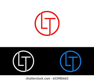 Lt Logo. Letter Design Vector with Red and Black Silver, Gold Colors