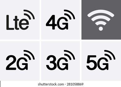 LTE, 2G, 3G, 4G and 5G technology icon symbols