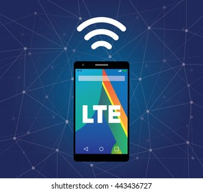 lte sign signal symbol with smartphone and wifi vector graphic illustration