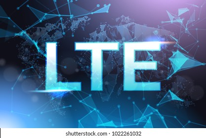 Lte Sign Symbol Over Futuristic Low Poly Mesh Wireframe On Blue Background Vector Illustration