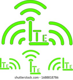 LTE signal designation icon set. Set vector icon for printing infinite sizes.