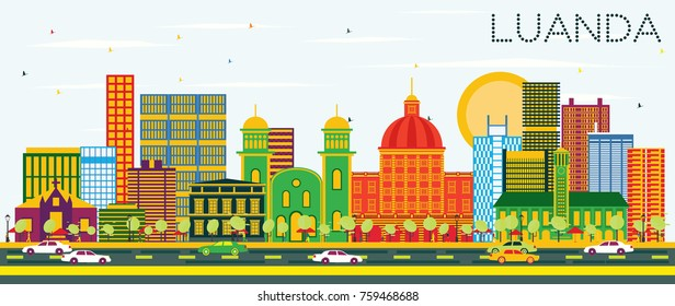 Luanda Angola Skyline with Color Buildings and Blue Sky. Vector Illustration. Business Travel and Tourism Concept with Modern Architecture.
