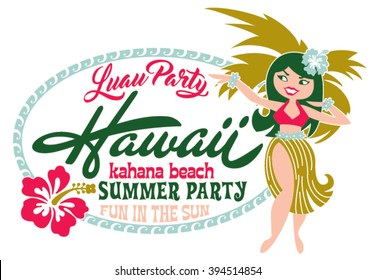 Luau party summer beach, artwork for children girl t shirt in custom colors