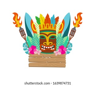Luau Tiki polynesian wooden mask, surfboard and other items for Hawaiian holiday celebration, flat cartoon vector illustration isolated on white background.