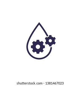 lubricant, oil icon, drop and gears