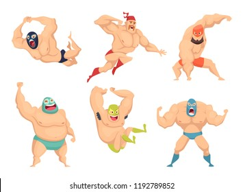 Lucha libre characters. Mexican wrestler fighters in mask macho libros vector martial cartoon mascot. Illustration of mexican wrestler, fighter wrestling combative