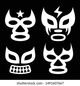 Lucha Libre faces vector design, luchador or luchadora graphics - Mexican wrestling traditinonal male and female mask set. Vector icons collection - wrestling fights masks popular in Mexico in white o