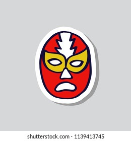 lucha libre, luchador mexican wrestling mask doodle sticker icon