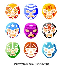 Lucha libre, luchador mexican wrestling masks color vector icons set. Character face person, sport costume symbol illustration