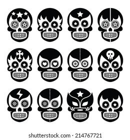 Lucha Libre - Mexican sugar skull masks black icons