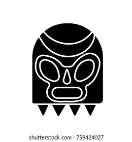 Lucha libre, mexican wrestling mask icon flat black