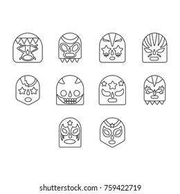 Lucha libre, mexican wrestling masks icons set outline