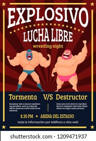 Lucha libre poster. Retro placard announced fighting match of mexican wrestlers luchador vector muscle characters. Illustration of placard announced fighting luchador event
