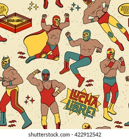 Lucha Libre Seamless Pattern. Lucha Libre Luchadores Heroes. Mexican Wrestler Night.