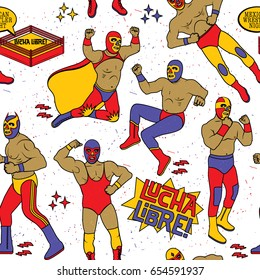 Lucha Libre Seamless Pattern. Luchadores Heroes. Mexican Wrestler Night.