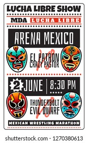 Lucha libre show luchador colorful mexican wrestling masks icons poster in traditional old school tattoo style on a white background