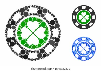 Luck casino chip mosaic of filled circles in various sizes and color hues, based on luck casino chip icon. Vector filled circles are grouped into blue illustration.