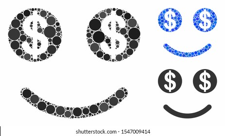 Luck dollar smile composition of small circles in variable sizes and color tinges, based on luck dollar smile icon. Vector small circles are grouped into blue composition.