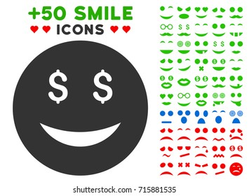 Luck Dollar Smiley icon with colored bonus smile pictograph collection. Vector illustration style is flat iconic elements for web design, app user interfaces, messaging.