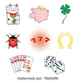 Luck and fortune.8 symbols set.
