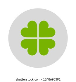luck icon - Four leaf clover icon. Green herb Isolated on white. St Patrick day vector. Flat design