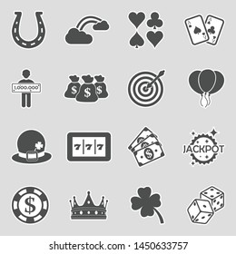 Luck Icons. Sticker Design. Vector Illustration.