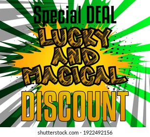Luck related comic book style sale, discount poster, banner, template. Cartoon style explosion background. Special offer.
