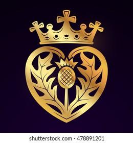 Luckenbooth brooch vector design element. Vintage Scottish heart shape with crown symbol logo concept. Valentine day or wedding illustration on dark background.