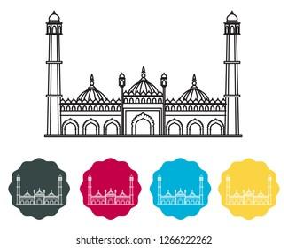 Lucknow City - Asfi Mosque in Bara Imambara Icon as EPS 10 File