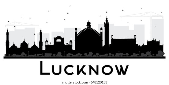 Lucknow City skyline black and white silhouette. Simple flat concept for tourism presentation, banner, placard or web site. Cityscape with landmarks.