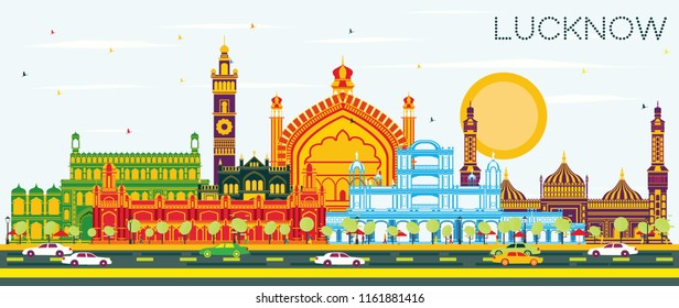 Lucknow India City Skyline with Gray Buildings and Blue Sky. Vector Illustration. Business Travel and Tourism Concept with Modern Architecture. Lucknow Cityscape with Landmarks.