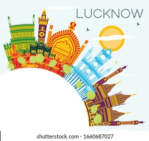 Lucknow India City Skyline with Gray Buildings, Blue Sky and Copy Space. Vector Illustration. Business Travel and Tourism Concept with Modern Architecture. Lucknow Cityscape with Landmarks.