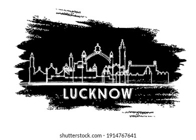 Lucknow India City Skyline Silhouette. Hand Drawn Sketch. Business Travel and Tourism Concept with Historic Architecture. Vector Illustration. Lucknow Cityscape with Landmarks.