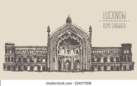 Lucknow main attraction, Rumi Darwaza, an imposing gateway. Hand drawn, engraved vector illustration