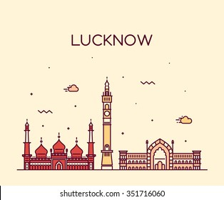 Lucknow skyline, detailed silhouette. Trendy vector illustration, linear style