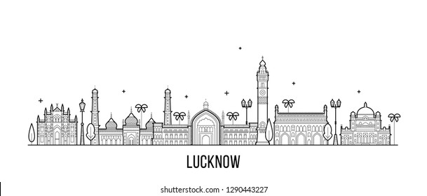 Lucknow skyline, Uttar Pradesh, India. This illustration represents the city with its most notable buildings. Vector is fully editable, every object is holistic and movable