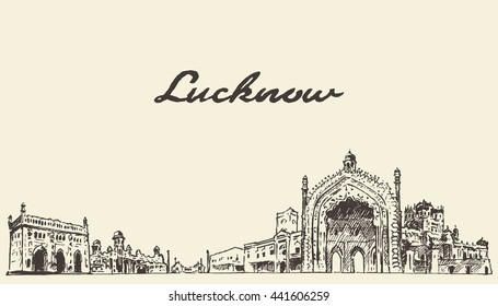 Lucknow skyline, vector engraved illustration, hand drawn, sketch