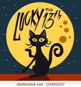 Lucky the 13th black cat and full moon cartoon vector illustration