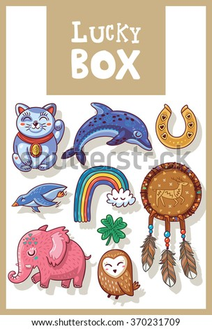 Lucky Amulets Happy Symbols Collection Stock Vector (Royalty Free
