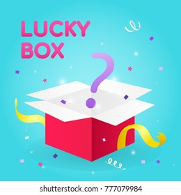 Lucky Box Vector illustration, Question mark coming out of gift box.