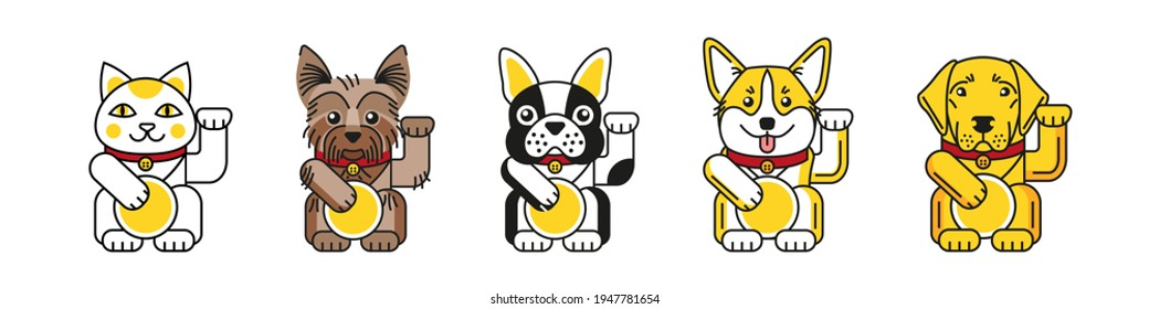 Lucky cat with bulldog, corgi, labrador, Yorkshire terrier bring good luck isolated on white background. Design for greeting card, sticker, poster and t shirts