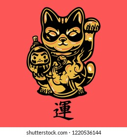 lucky cat gold chinese culture mascot