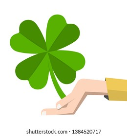 Lucky Clover Leaf in Human Hand Vector Illustration