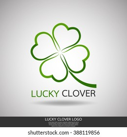 lucky clover nature logo vector template.abstract line symbol of design