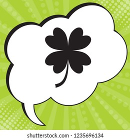 Lucky clover sign. Vector. Black icon in speech bubble at popart yellow green background.