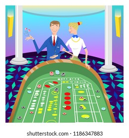 Lucky couple playing craps in casino (vector illustration)