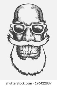 Lucky dude with mustaches, beard and sun glasses. engraving style. vector illustration