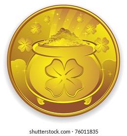 Lucky Gold Coin Charm Cartoon Illustration