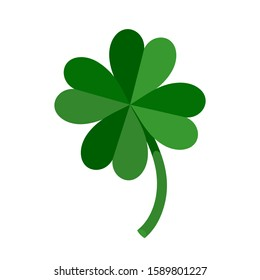 Lucky Green Four Leaf Clover for St. Patrick's Day. Vector illustration isolated on white background.